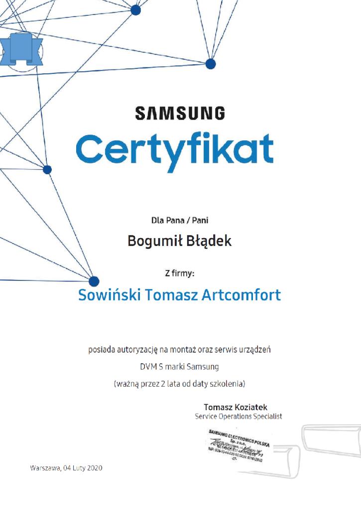 certyfikat samsung błądek